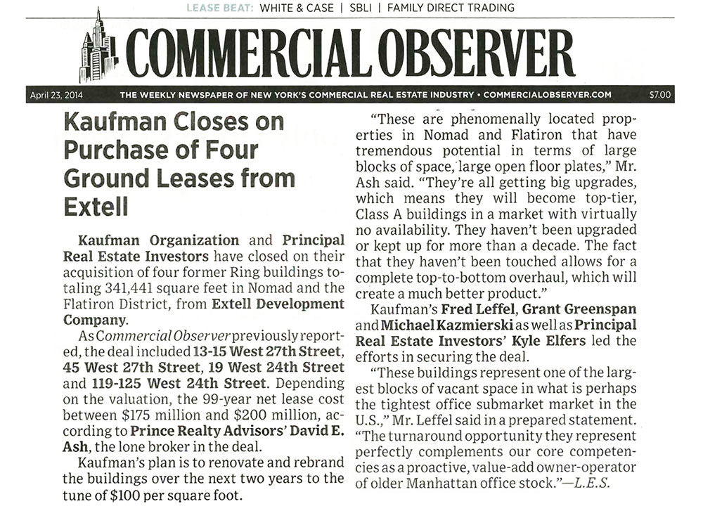 Commercial-Observer,-Kaufman-Closes-on-Purchase-of-Four-Ground-Leases-from-Extell,-4.23.2014