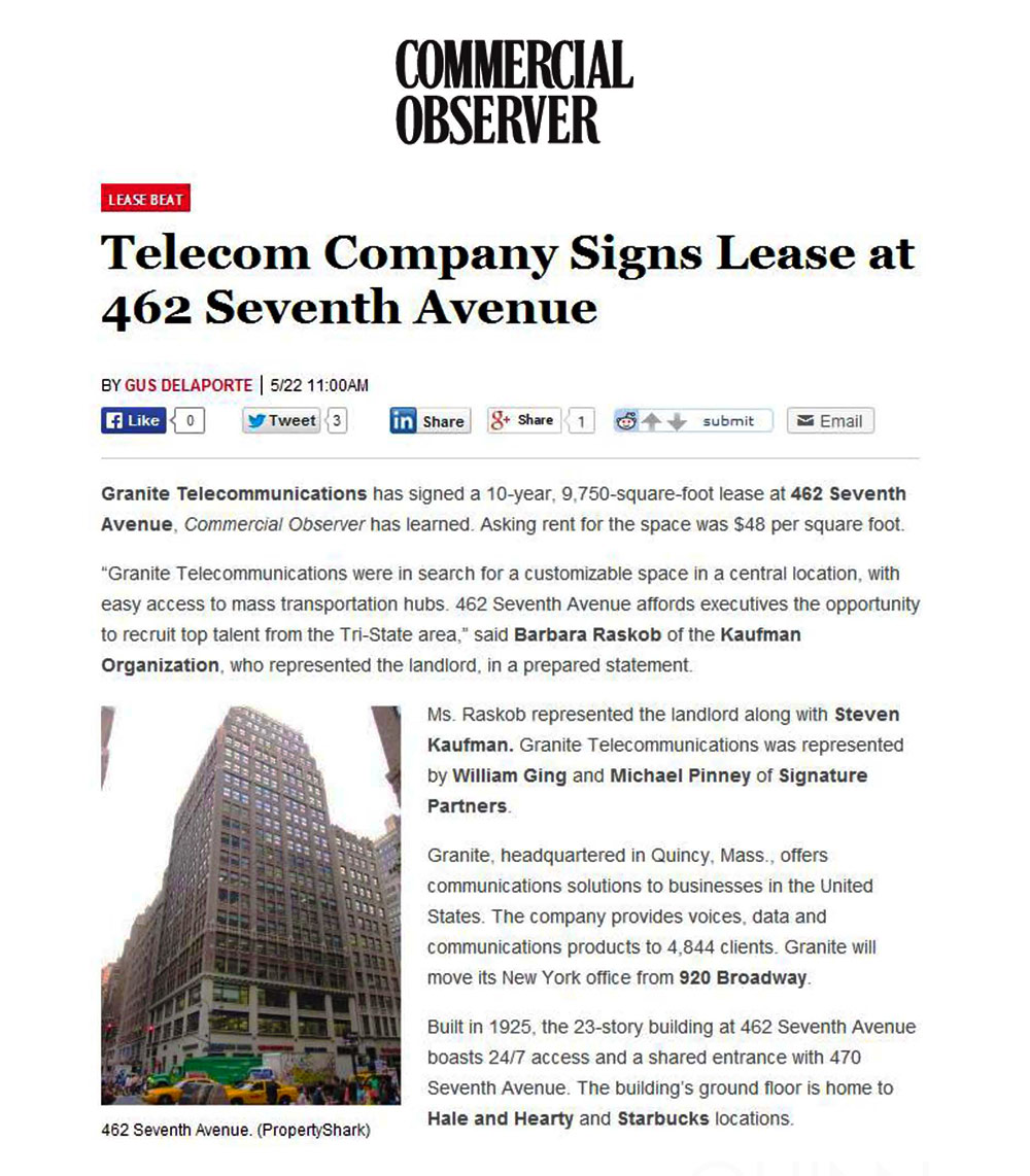 Commercial-Observer-(Online)---Telecom-Company-Signs-Lease-at-462-Seventh-Avenue---5.22.14