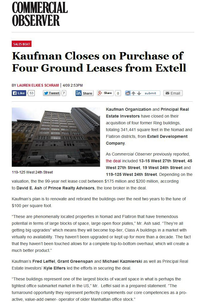 Kaufman-Closes-on-Purchase-of-Four-Ground-Leases-from-Extell,-4.9.2014