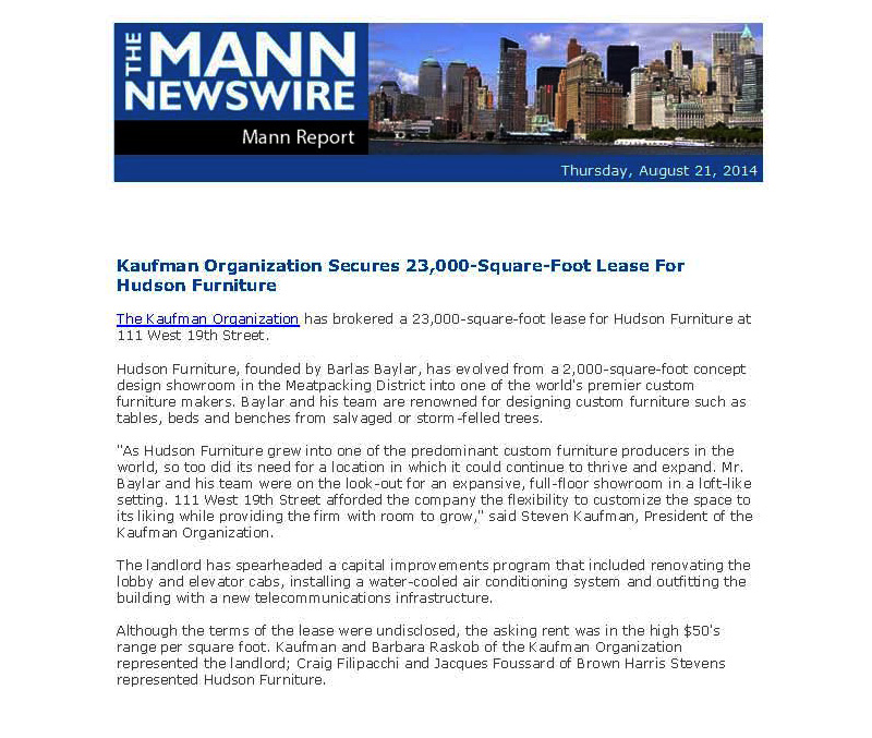 Mann-Report-Newswire-Kaufman-Organization-Secures-23,000-SF-Lease-for-Hudson-Furniture---8.21.14