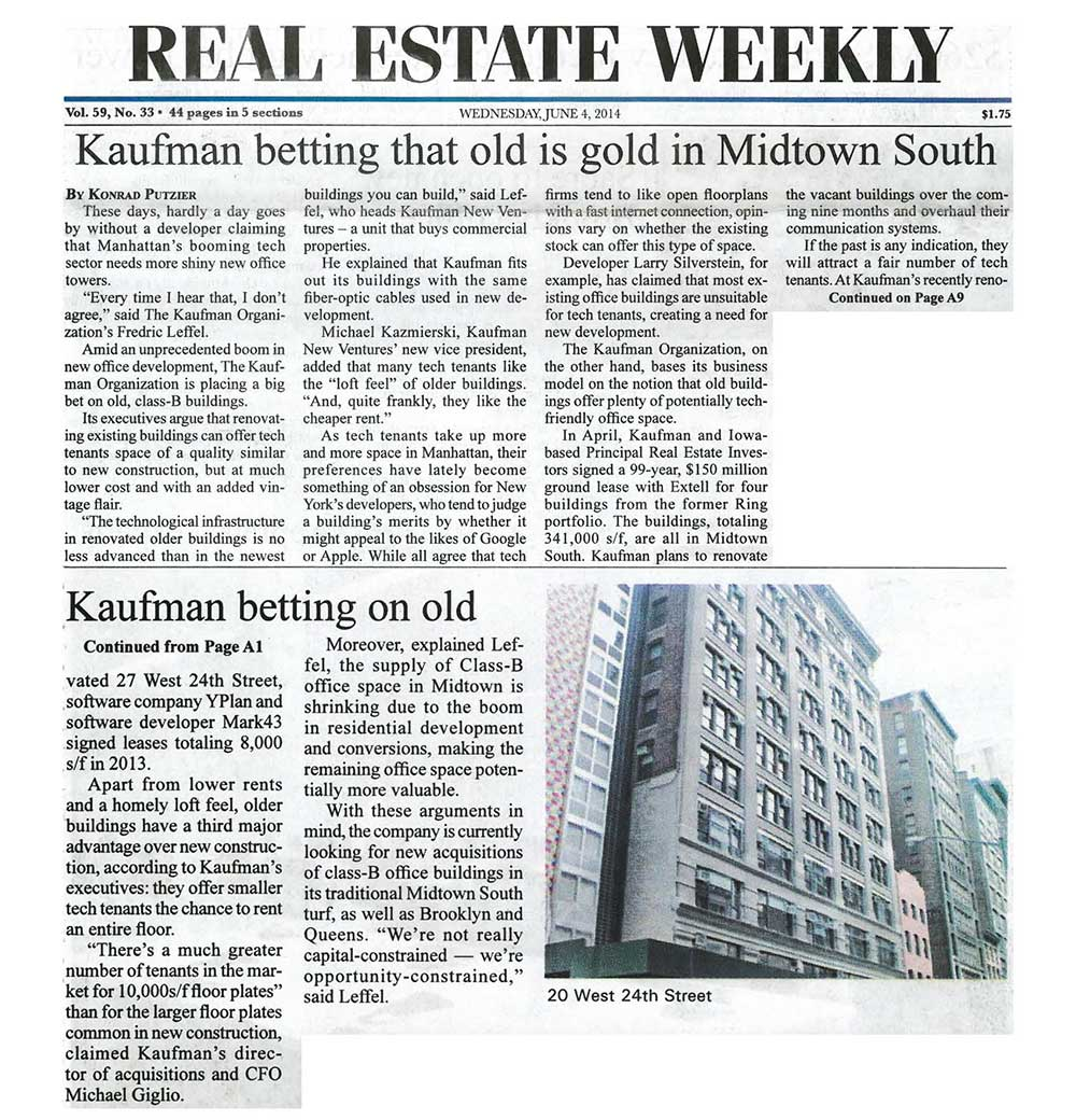 Real-Estate-Weekly,-Kaufman-betting-that-old-is-gold-in-Midtown-South,-6.4.14