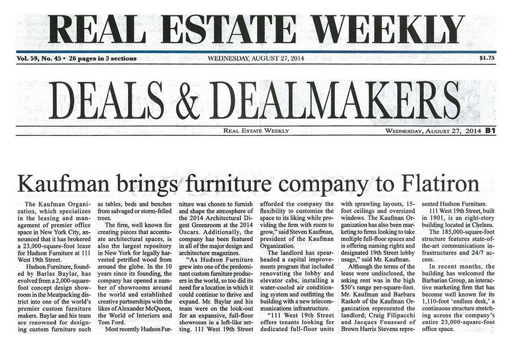 Real-Estate-Weekly---Kaufman-brings-furniture-company-to-Flatiron---8.27.14