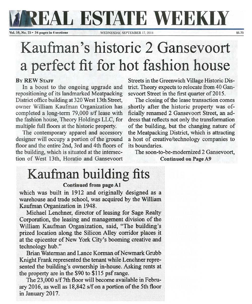 Real-Estate-Weekly---Kaufman's-historic-2-Gansevoort-a-perfect-fit-for-hot-fashion-house---9.17.14