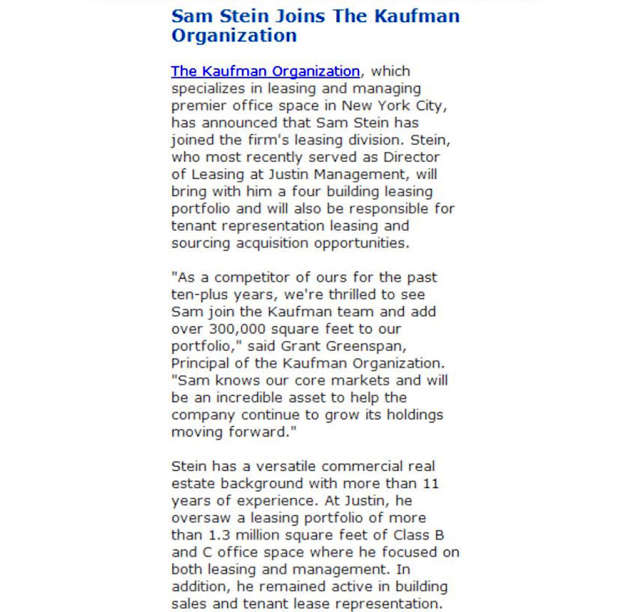 The-Mann-Newswire,-Sam-Stein-Joins-the-Kaufman-Organization,-5.8.2014