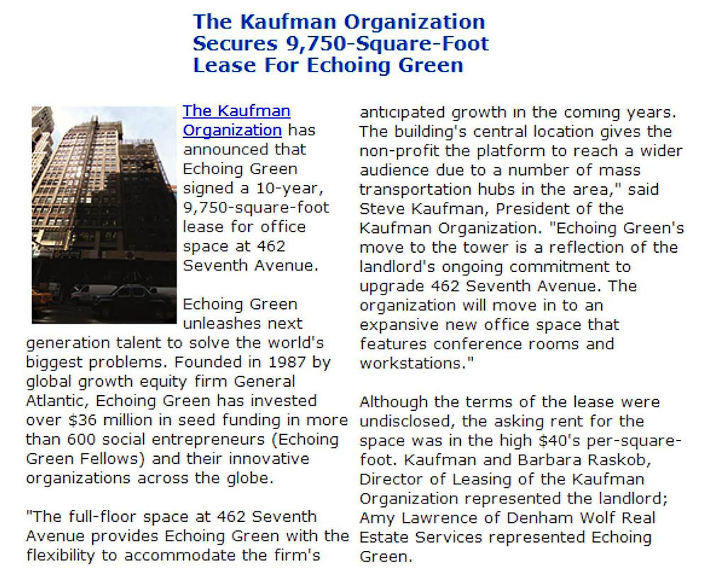 The-Mann-Newswire---The-Kaufman-Organization-Secures-9,750-Square-Foot-Lease-For-Echoing-Green---9.4.14
