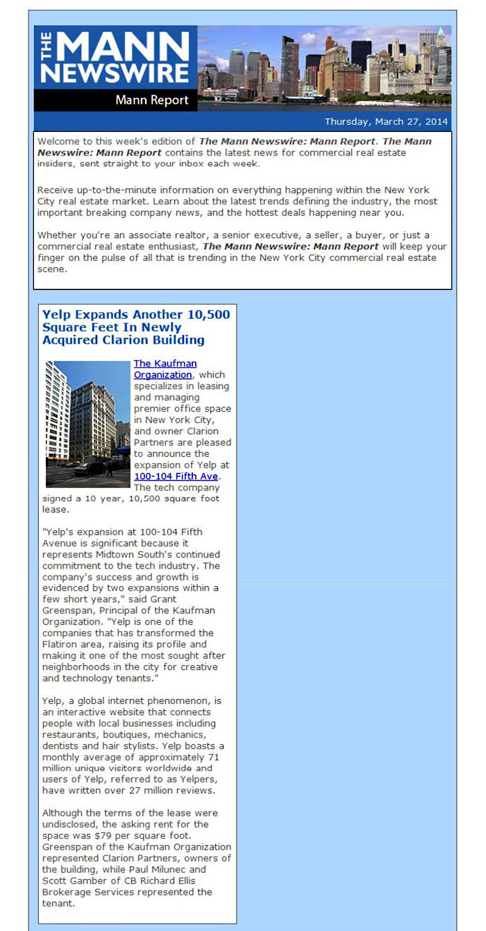 The-Mann-Newswire,-Yelp-Expands-Another-10,500-Square-Feet-In-Newly-Acquired-Clarion-Building,-3.27.2014