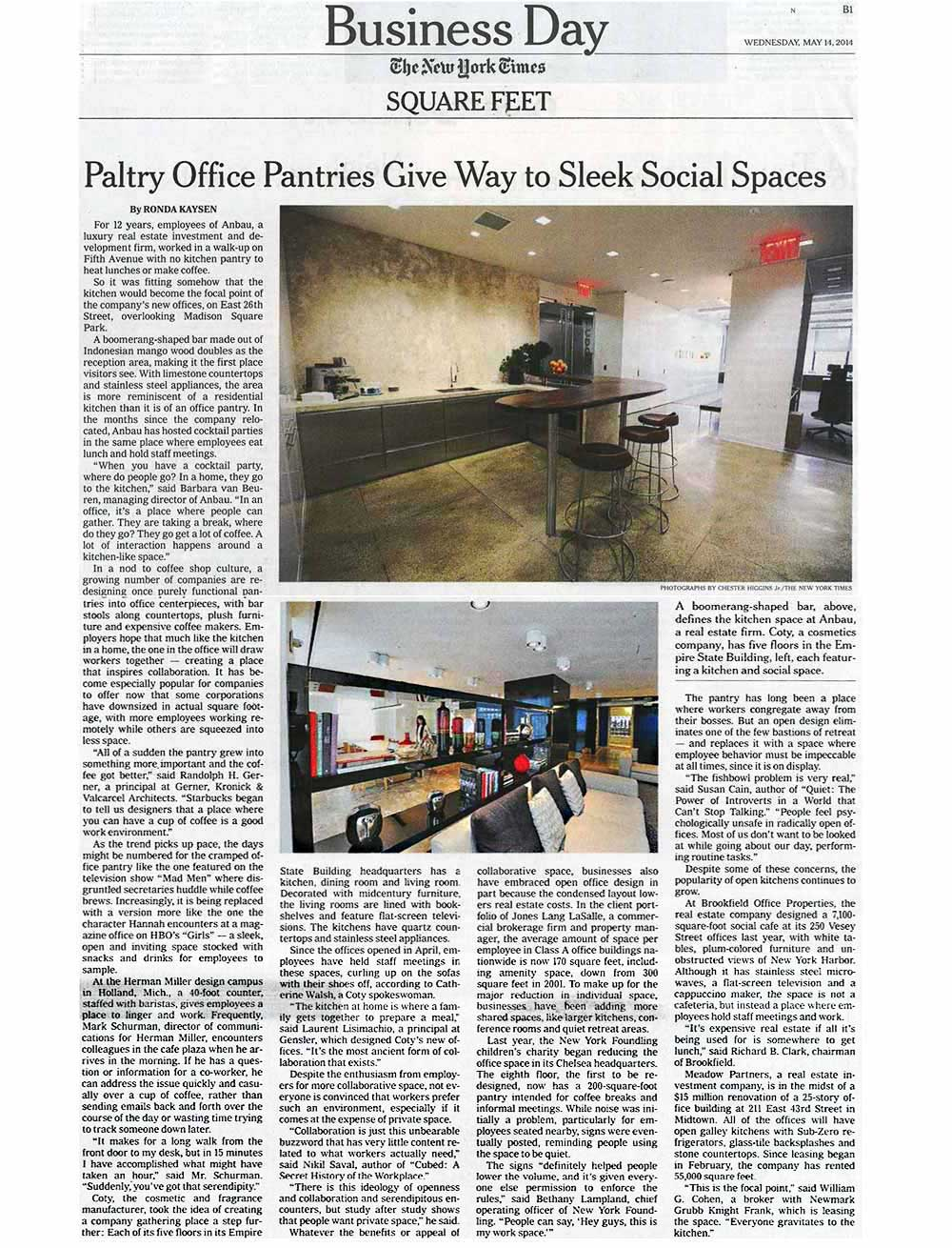 The-New-York-Times,-Paltry-Office-Pantries-Give-Way-to-Sleek-Social-Spaces,-5.14.2014
