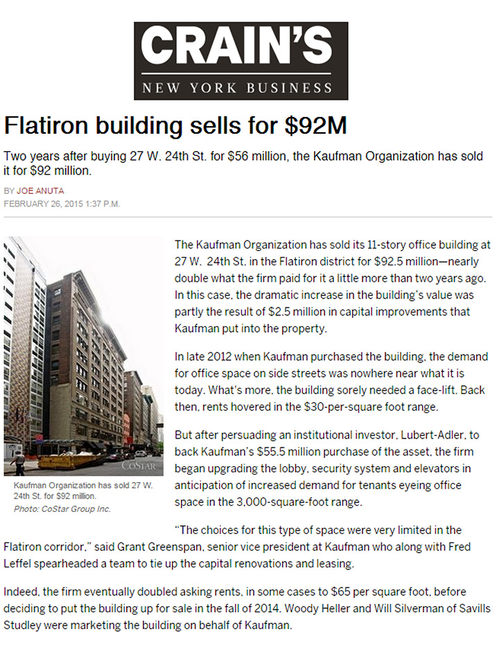 Crains-New-York-Business---Flatiron-building-sells-for-$92M---2.26
